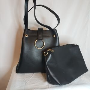 Classy black and gold accent hand bag